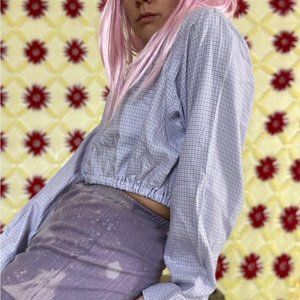 Vintage reworked cropped plaid button up shirt by